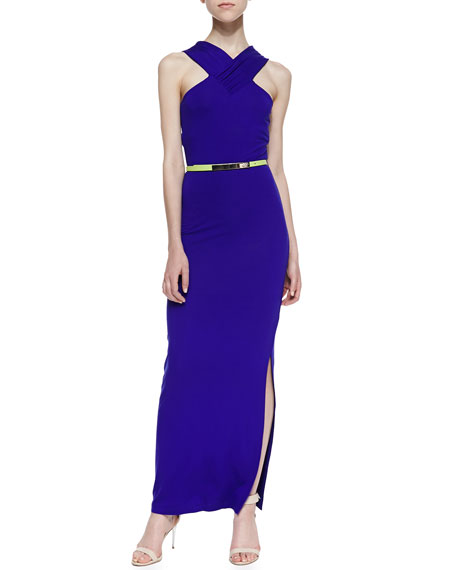 Jessami Sleeveless Halter Neon-Stripe Stretch-Knit Dress, Mid Purple