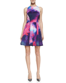 Ted Baker London Summer At Dusk Cloud-Print Fit-And-Flare Dress