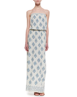 Velvet Noile Strapless Printed Maxi Dress