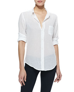 Frank & Eileen Barry Buttoned Voile Shirt, White