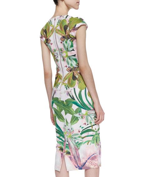 Safiya Jungle Orchid Print Cocktail Dress
