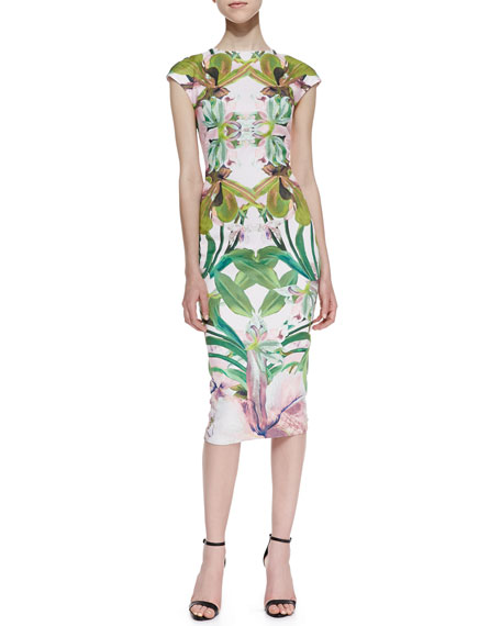 Safiya Jungle Orchid Print Cocktail Dress