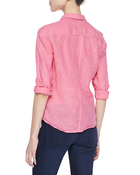 Barry Linen Button-Down Blouse, Light Red (Stylist Pick!)