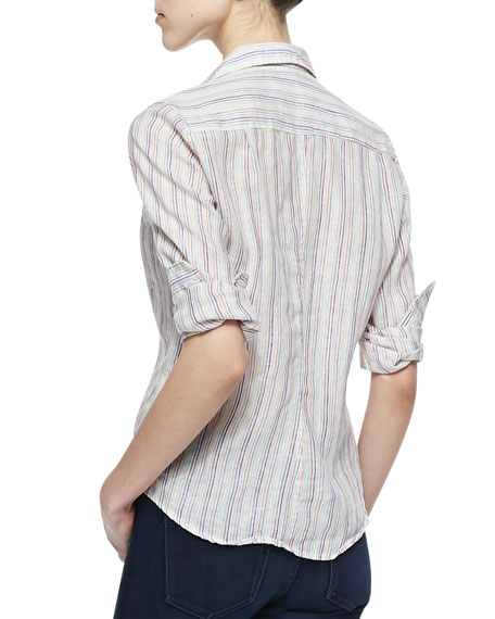 Barry Linen Pinstripe Button-Down Blouse