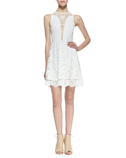 For Love & Lemons Lulu Mesh-Inset Lace Dress
