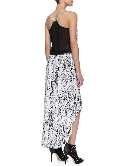 Jamie High-Low Splatter-Print Maxi Dress, Black Pattern