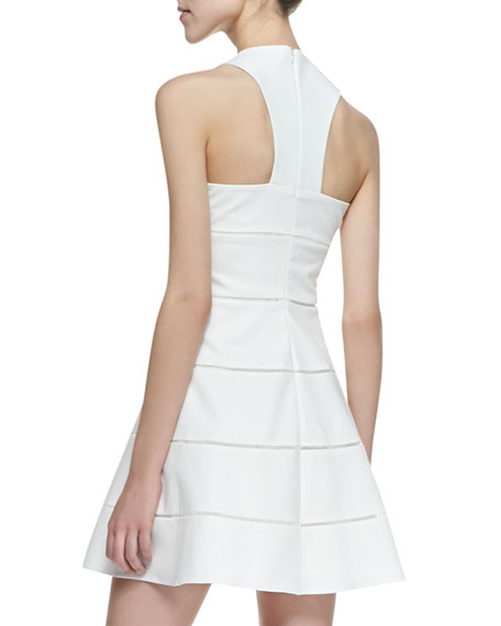 Alicia Paneled A-Line Dress, Cream