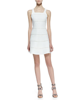 Parker Alicia Paneled A-Line Dress, Cream