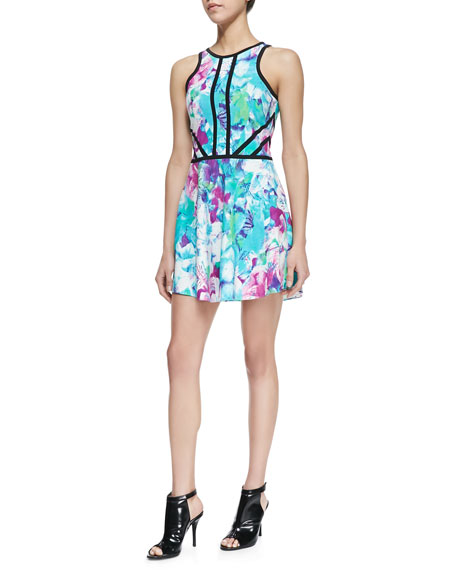 Shelby Printed Contrast-Trim Dress