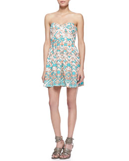 Parker Lily Strapless Bermuda Sunrise Print Mini Dress