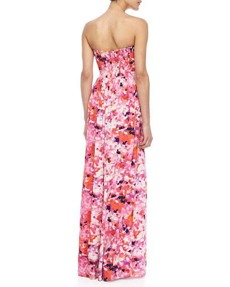 Printed Strapless Maxi Dress
