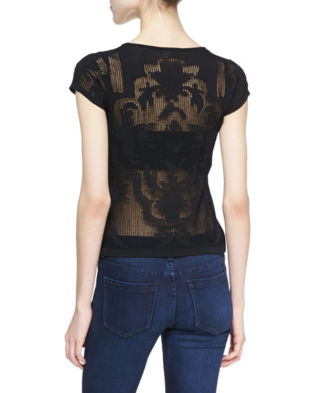 Corinne Sheer Knit Detail Top, Black