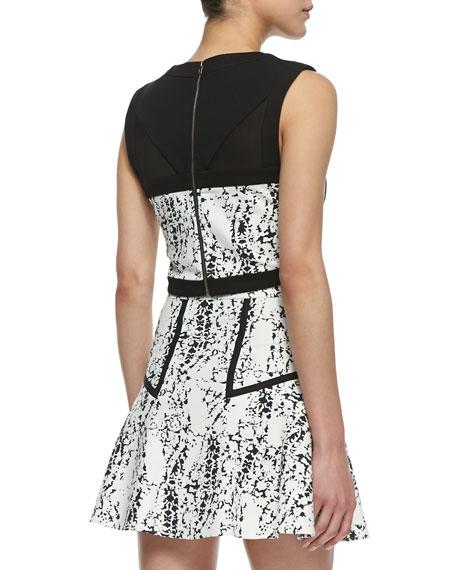 Bigi Splatter Print Crop Top, Black/White