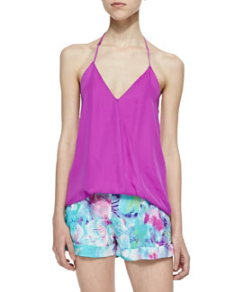 Parker Kae Adjustable Halter Tank Top, Electric Plum