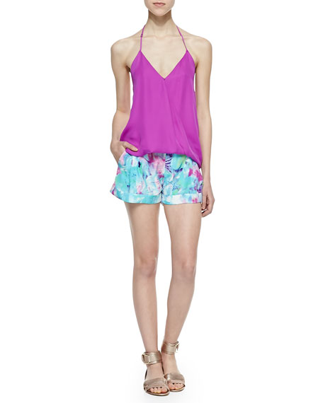 Dalton Monet-Print Silk Shorts