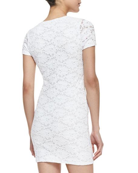 Tina Floral Lace Sheath Dress, White