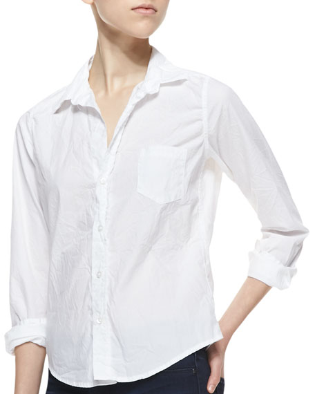 Barry Buttoned Poplin Shirt, White