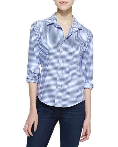 Barry Gingham Button-Down Blouse, Blue/White
