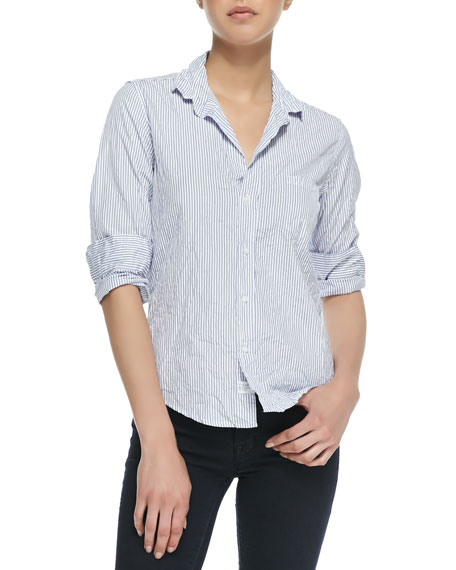 Barry Buttoned Striped Shirt, White/Blue
