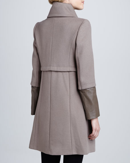 Maddison Leather-Cuff Coat