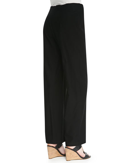 Washable Crepe Modern Wide-Leg Pants, Black, Women's