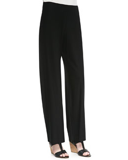 Eileen Fisher Washable Crepe Modern Wide-Leg Pants, Black, Women's