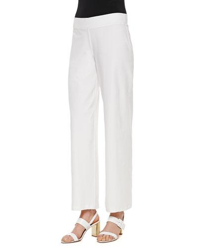 Eileen Fisher Modern Crepe Wide-Leg Pants, White