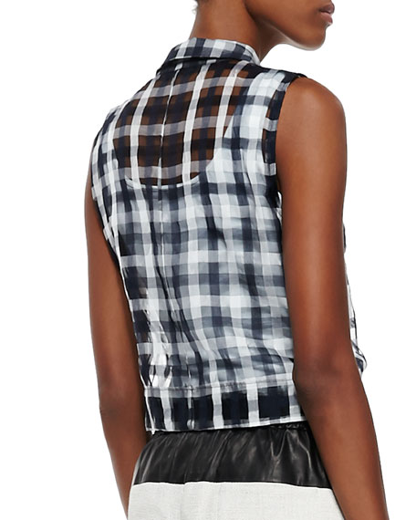 Kelly Sleeveless Check Top