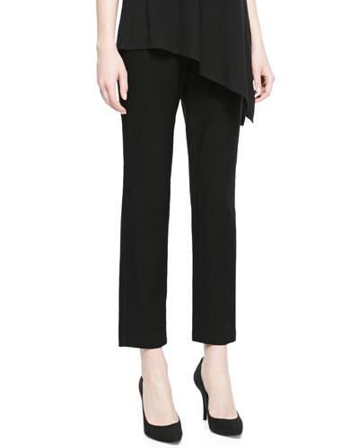 Washable Stretch-Crepe Ankle Pants, Black