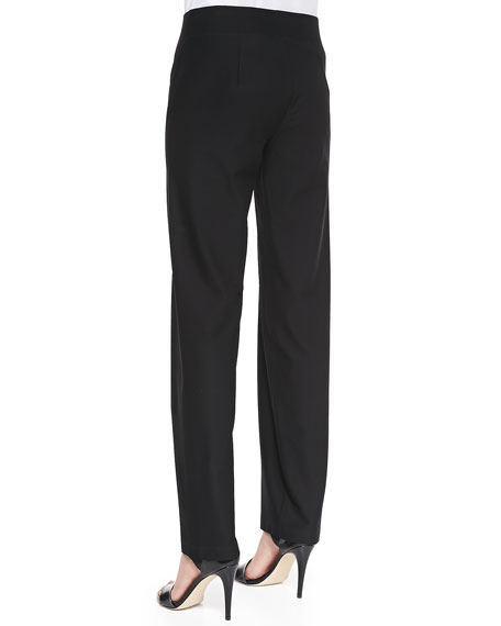 Washable-Crepe Straight-Leg Pants, Women's