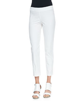 Eileen Fisher Washable Stretch-Crepe Ankle Pants, Petite