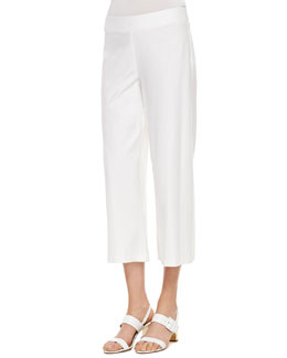 Eileen Fisher Wide-Leg Washable-Crepe Cropped Pants, Women's