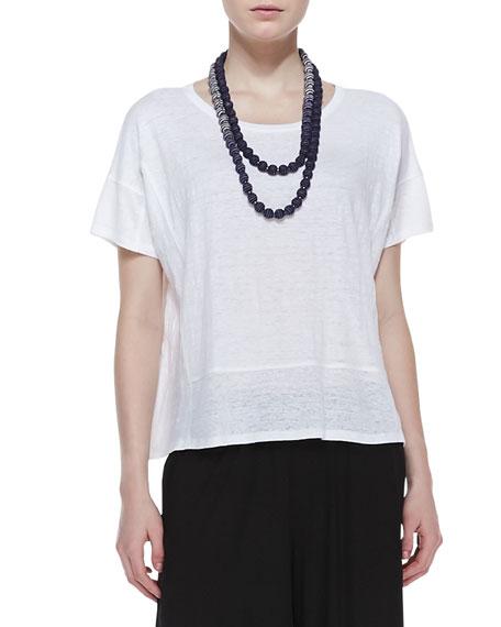 Organic Linen Short-Sleeve Box Top, White