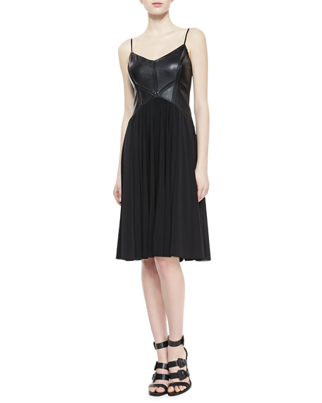 Ruth Sleeveless Leather & Chiffon Dress