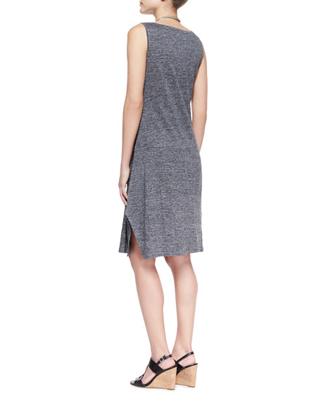 Scoop-Neck Melange Jersey Dress, Petite