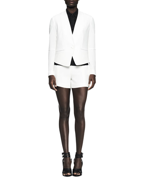 Pascal Darted Single-Button Leather-Trim Blazer