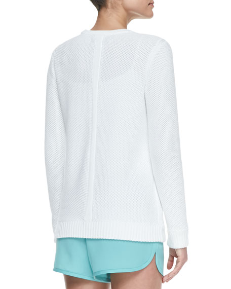 Rita Rib-Trim Perforated Pullover