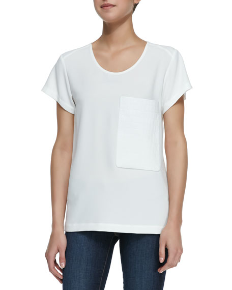 Short-Sleeve Leather-Pocket Tee, White