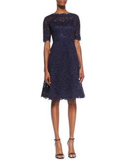 Rickie Freeman for Teri Jon Lace Overlay Cocktail Dress