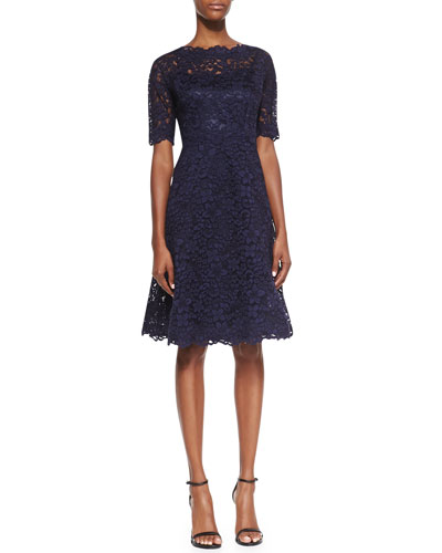 Lace Overlay Cocktail Dress