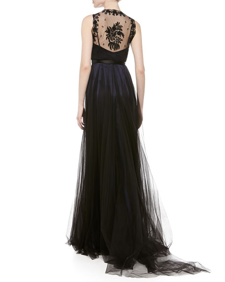 Prairie Lace Tulle Gown, Navy
