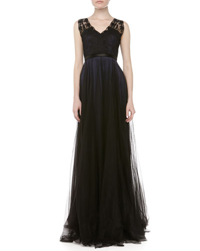 Catherine Deane Prairie Lace Tulle Gown, Navy
