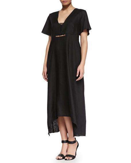 Evento Linen Long Solid Dress, Women's