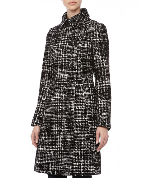 Wool Check A-Line Coat