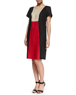 Marina Rinaldi Erice Colorblock Short-Sleeve Dress, Women's