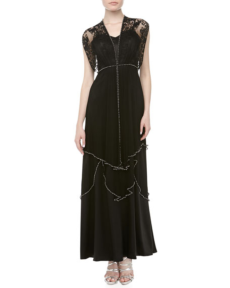 Paris Lace Tiered Beaded Gown, Black