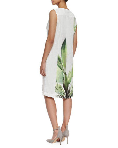 Dossier Leaf-Print Linen Dress, Women's