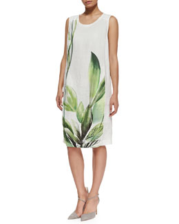 Marina Rinaldi Dossier Leaf-Print Linen Dress, Women's