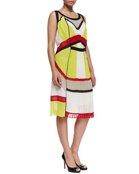 Elga Pleated Georgette Dress, Women's
