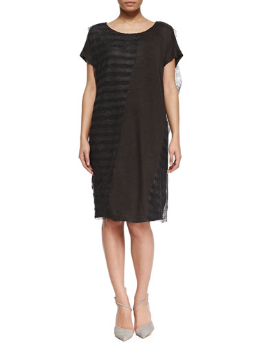 Marina Rinaldi Onda Short-Sleeve Open-Weave & Jersey Combo Dress, Women's